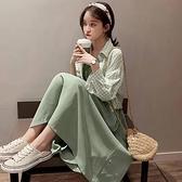 春裝年新款女春秋雪紡a字裙兩件套吊帶連衣裙子長袖仙女裙夏 時尚芭莎