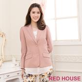 【RED HOUSE-蕾赫斯】V領修身西裝外套(卡其色)