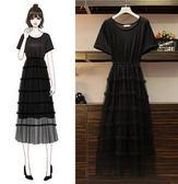 促銷價不退換女神氣質實拍單品洋裝XL-4XL中大尺碼31935女裝韓版亮絲網紗裙長款顯瘦連衣裙