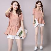 新款文藝復古甜美韓版女裝大碼棉麻女式短袖上衣 DN6965【Pink中大尺碼】