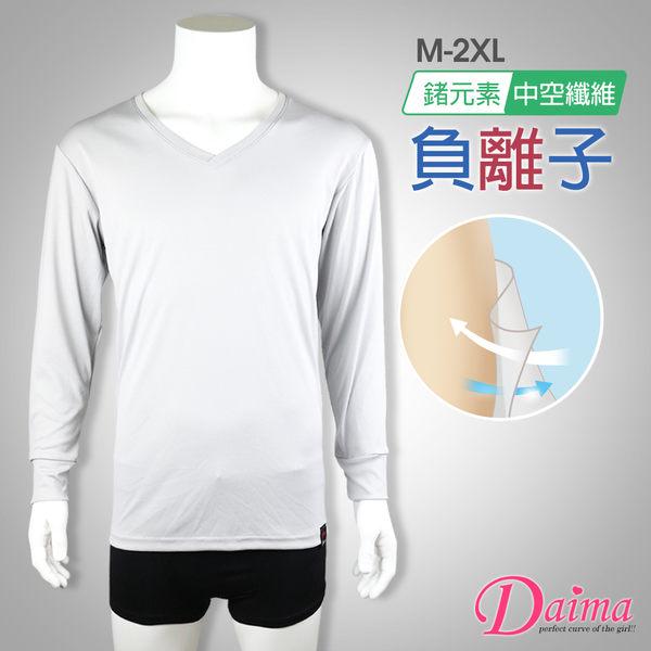 男生保暖衣 MIT 奈納鍺纖維+中空紗活力暖感上衣(灰色)【Daima黛瑪】