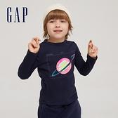 Gap男童 全棉創意印花圓領長袖T恤 664152-海軍藍