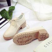 英倫風新款流蘇繫帶小皮鞋女粗跟中跟單鞋學生女鞋子 免運
