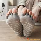 5雙裝 露趾魚嘴五指襪女純棉條紋短筒吸汗【小獅子】
