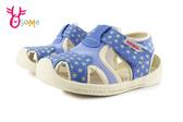 舒適寶寶涼鞋 小童 學步鞋 星星貓耳 軟Q鞋底 H6052#藍色◆OSOME奧森鞋業