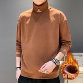半高領連帽T恤男士新款潮流秋冬季加絨加厚上衣服冬裝保暖打底衫 易家樂