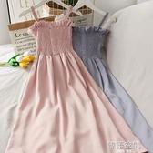 復古一字領抹胸吊帶裙初戀溫柔裙中長款洋裝女褶皺木耳邊裙子夏連身裙