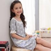 兒童中大女童短袖家居服薄款公主花邊洋裝睡裙親子寶寶睡衣 童趣潮品