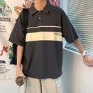 夏季新款港風polo衫短袖男生韓版寬鬆百搭體恤網紅ins翻領上衣 果果輕時尚
