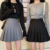 百褶裙 黑色百褶裙女夏季學院風薄款小個子高腰短裙a字裙子西裝半身裙夏【快速出貨】