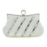 晚宴包-珍珠時尚優雅氣質鑲鑽女手拿包2色73su26[時尚巴黎]