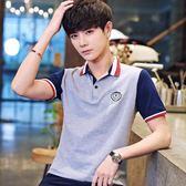 夏季純棉短袖t恤男士翻領polo衫v領半袖韓版體恤潮牌男裝衣服
