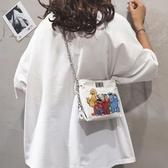 帆布包ins網紅帆布小包包女2019夏季新款卡通水桶包休閒鍊條側背斜背包 貝芙莉