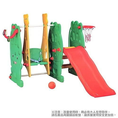 *粉粉寶貝玩具*綠巨人多功能遊戲組~-綠精靈溜滑梯+鞦韆+投籃+套圈圈~台灣製~ST安全玩具