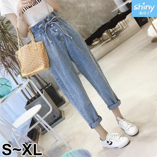【V2847】shiny藍格子-品味時尚.高腰繫帶花苞哈倫九分褲