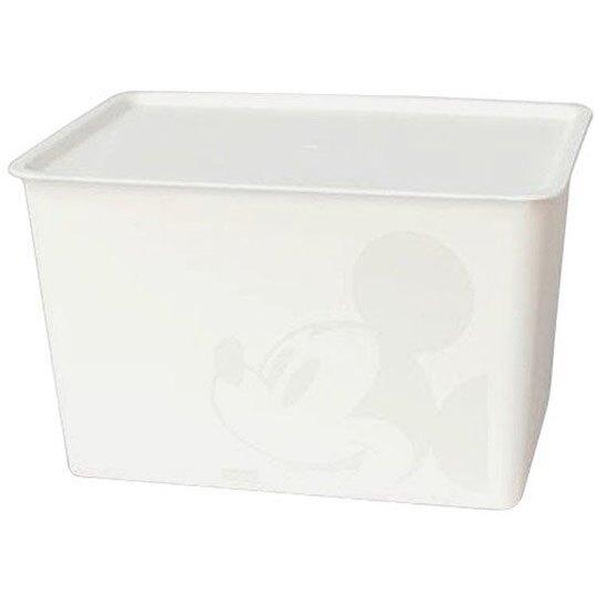 小禮堂 迪士尼 米奇 日製 方形塑膠拿蓋收納箱 玩具箱 衣物箱 17L (L 白 大臉) 4904121-34344