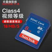存儲卡SanDisk閃迪SD卡 8G 高速相機內存卡8g SDHC存儲卡 米蘭潮鞋館