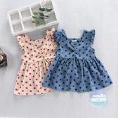 兒童上衣 女寶寶上衣夏棉韓版娃娃衫波點薄款小女孩裙衫飛袖兒童T恤裙洋氣 2色