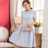 小三衣藏[88100-S]甜美公主風珍珠水鑽圓領短袖洋裝