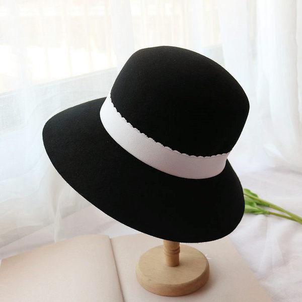 大簷毛呢盆帽女英倫圓頂漁夫帽帽子 時尚禮帽韓版百搭羊毛呢氈帽
