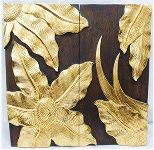 木雕 掛畫 熱帶葉