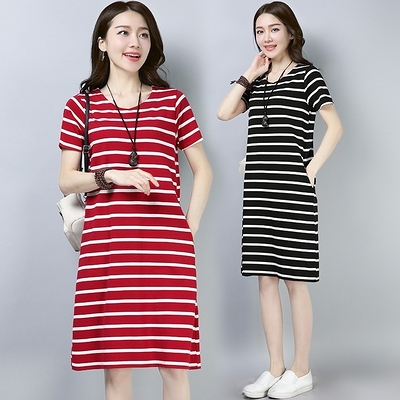 M-4XL胖妹妹大碼洋裝連身裙~針織大碼女裝夏胖mm條紋中長款顯瘦上衣連身裙女短袖6091.R43衣時尚