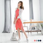 OrangeBear《AB2715》側襬開衩前短後長純色棉質長版上衣/洋裝.4色