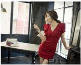 售完即止-夜店女裝洋裝2018新款夜店女裝短袖V領性感顯瘦包臀修身連衣裙10-11(庫存清出T)