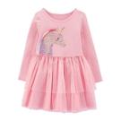 閃亮亮片獨角獸拼接紗裙長袖洋裝 洋裝 紗裙 連身裙 現貨 女童 童裝 橘魔法 中童