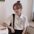 polo衫 夏裝韓版寬鬆短袖polo衫上衣女網紅白色ins運動休閒T恤學生學院風