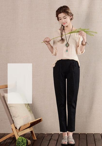 褲子 自然品味彈力腰直筒九分亞麻褲 艾爾莎【TGK3785】