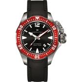 Hamilton 漢米爾頓 卡其海軍系列蛙人機械錶-黑x紅圈/42mm H77725335