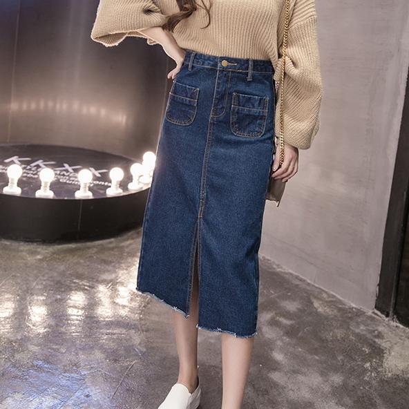 【現貨】梨卡 - 韓版超顯瘦修身中長版A字牛仔長裙/3色BR232