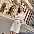 VK精品服飾 韓國小香風時尚拼接毛呢透視長袖洋裝