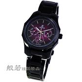 SIGMA 都會時尚三眼時尚手錶 小-黑X酒紅