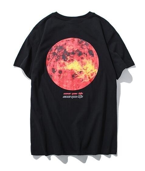 日系時尚街頭素面後面太陽印花短袖T恤 素面T