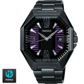 WIRED SEIKO副牌 特殊切割八角型紫色錶盤羅馬字放射黑鋼錶 7N42-X007T 公司貨   高雄名人鐘錶