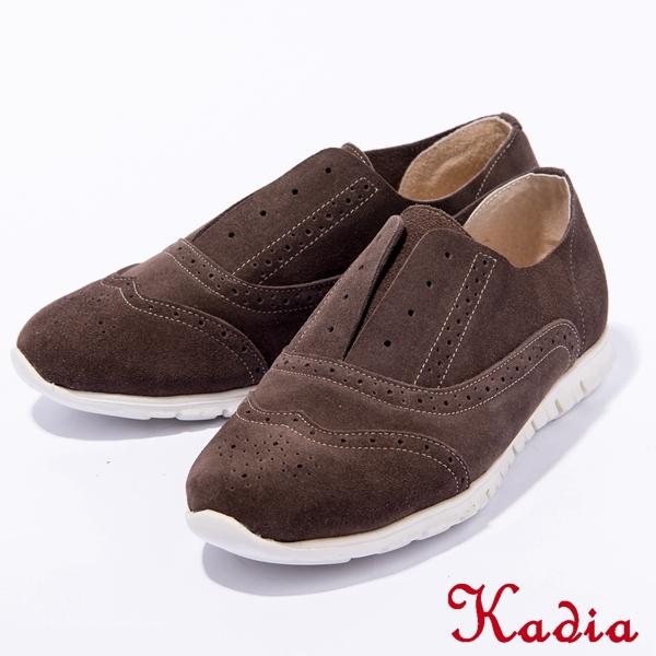 2016秋冬新品上市Kadia.牛反毛皮牛津休閒鞋(棕色)