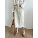 半身裙 新款韓版氣質通勤米白色牛仔半身裙休閒中長款半裙8706 【618特惠】