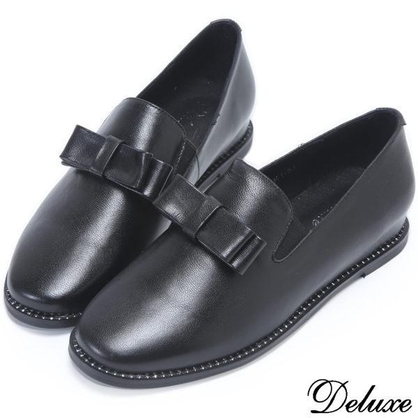 【Deluxe】全真皮極簡素面蝴蝶結水鑽休閒鞋(黑)