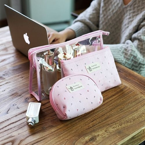 可愛少女心旅行化妝包三件套裝 韓國簡約大容量防水透明旅遊洗漱包