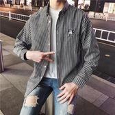 春季男士長袖條紋襯衫男寬鬆學生襯衣服正版潮流學院風情侶裝寸衫 【限時八五折】