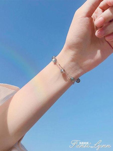 純銀石榴石月光石轉運珠雙層手錬簡約森系學生閨蜜韓版女小眾設計 范思蓮恩