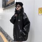 皮衣 外套女2019新款冬季正韓ins復古街頭寬松bf風加棉機車皮衣夾克潮