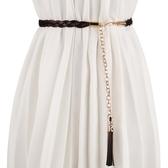 簡約編織腰鍊女裝飾連身裙