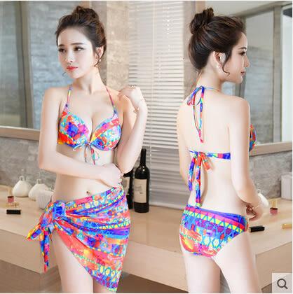 游泳衣女三件套分體比基尼小胸鋼托聚攏性感bikini韓國溫泉泳裝