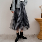 MIUSTAR 彈力腰經典百搭小方格紗裙(共2色)【NH2987】預購