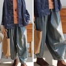 厚軟垂純棉磨白牛仔寬鬆休閒寬管褲/設計家 K91039