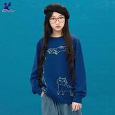 【早秋新品】American Bluedeer - 貓咪圓領針織上衣(魅力價) 秋冬新款