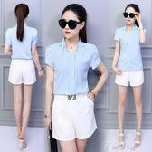 2018夏季新款女韓版襯衣寬鬆顯瘦大碼短袖休閒荷葉袖白色雪紡衫女  米娜小鋪
